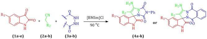 An efficient approach to the synthesis of some novel heterocycles related to indoline moiety using [BMIm]Cl catalysis