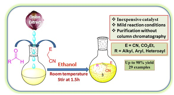 Water extract of onion catalyzed Knoevenagel condensation reaction: an efficient green procedure for synthesis of α-cyanoacrylonitriles and α-cyanoacrylates