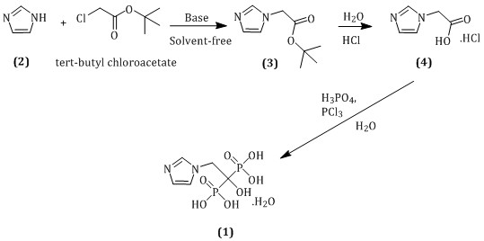 Solvent-free synthesis for imidazole-1-yl-acetic acid hydrochloride: an intermediate for zoledronic acid