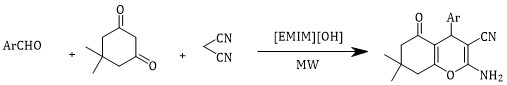 Rapid and green synthesis of tetrahydrobenzo[b]pyran derivatives using reusable [EMIM][OH] ionic liquid
