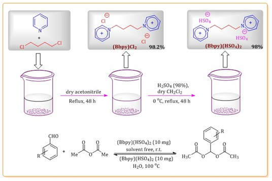 Chemoselective synthesis of 1,1-diacetates (acylals) using 1,1'‐butylenebispyridinium hydrogen sulfate as a new, halogen‐free and environmental-friendly catalyst under solvent-free conditions