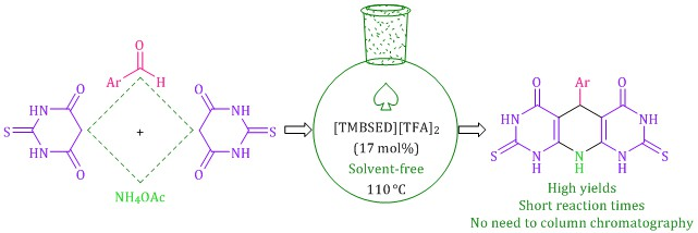 N1,N1,N2,N2-tetramethyl-N1,N2-bis(sulfo)ethane-1,2-diaminium trifluoroacetate as an efficacious and dual-functional catalyst for the solvent-free preparation of pyrido[2,3-d:6,5-d′]dipyrimidines