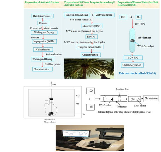 Reverse water gas shift reaction over tungsten carbide prepared catalyst from waste date palm fronds at low temperatures reverse water gas shift reaction